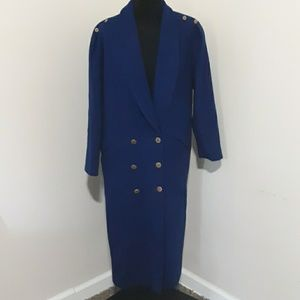 Vtg Ada Blue Long Wool Jacket with Gold Buttons 8